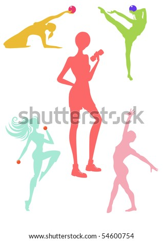 Female sport silhouette collection: jump, dance, ball, weight lifting - stock photo