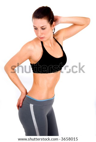 female sports model over a white background