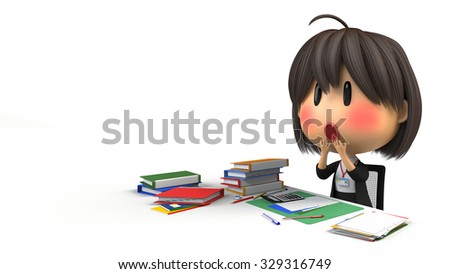 Female staff to the desk work - stock photo