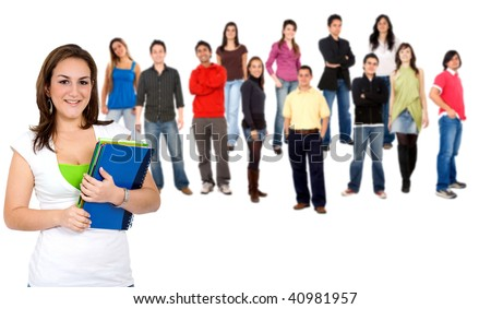 Female student and a group of people isolated over a white background