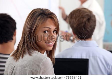 female student at university - stock photo