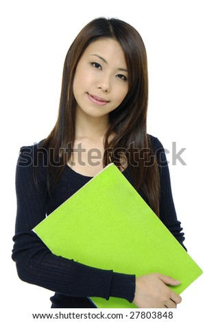 female student carrying notebooks over a white background