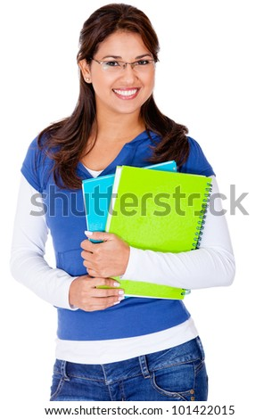 Female student holding notebooks and smiling - isolated