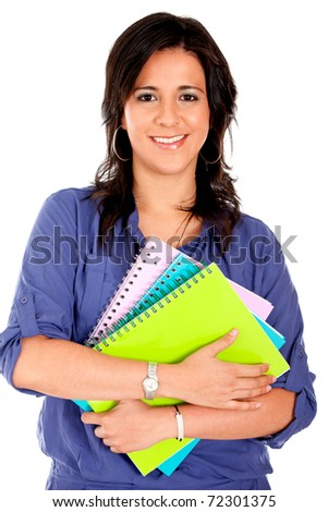 Female student holding notebooks - isolated over white