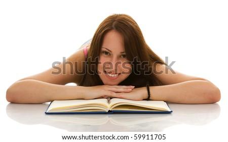 Female student isolate on white - stock photo