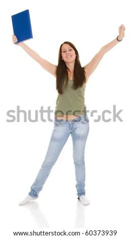 female student isolate on white background - stock photo