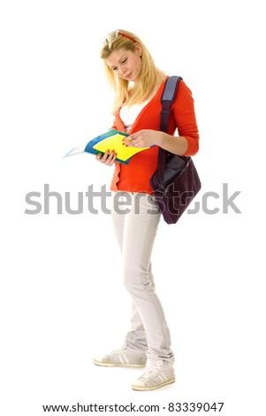 Female student isolated on white background - stock photo
