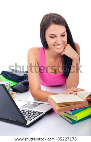 female student  learning for  exam, isolated on white background