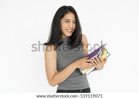 Female Student Standing Books Knowledge Concept