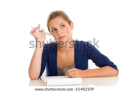 Female student thinking - stock photo