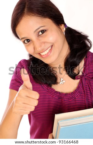 Female student thumbs