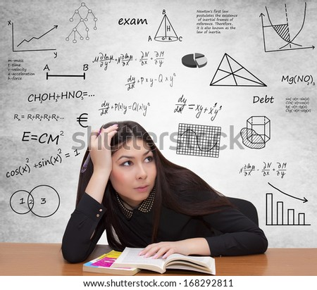 female student upset about assignment in class - stock photo