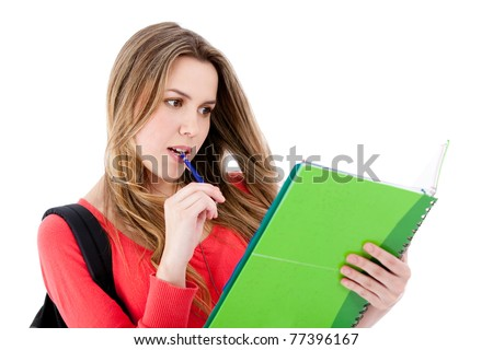 Female student with a backpack and notebooks - isolated over white