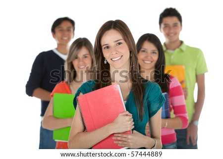 Female student with a group, holding notebooks - isolated over white - stock photo