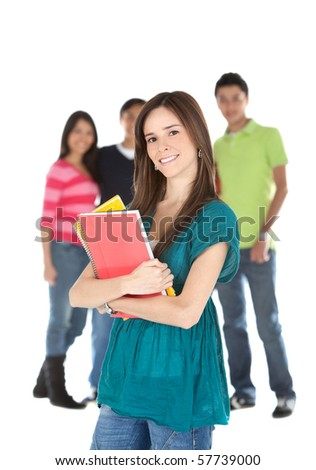 Female student with a group holding notebooks - isolated over white