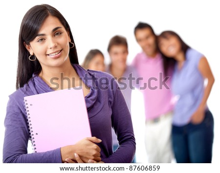 Female student with a group on the background - isolated over white - stock photo