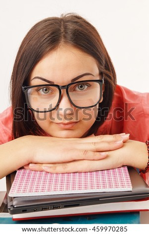 Female student with books - stock photo