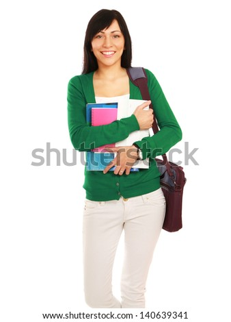 Female student with books,isolated on white background - stock photo