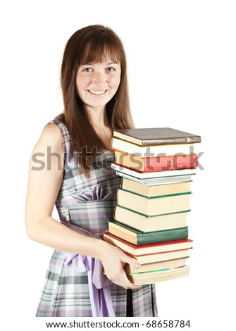 Female student with pile of books, isolated over white