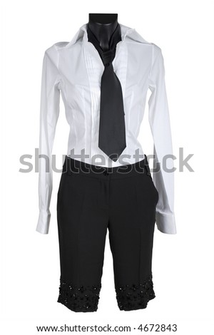 Female suit with a necktie on a white background