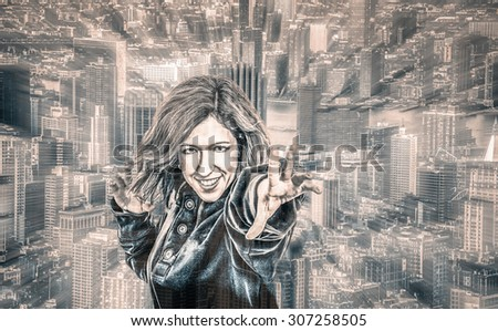 Female superhero and cityscape on the background, digitally altered portrait with motion blur effect. - stock photo