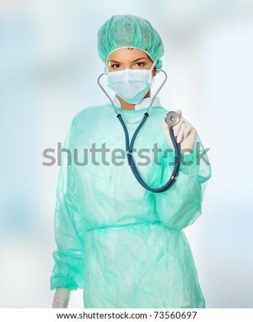 Female surgeon with stethoscope. - stock photo