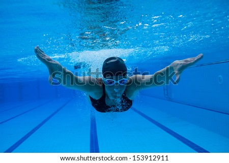 Female swimmer diving underwater in swimming pool - stock photo