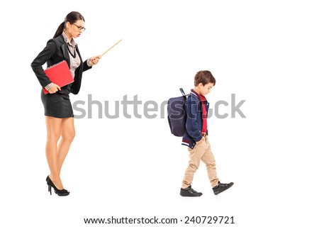 Female teacher disciplining a schoolboy isolated on white background - stock photo