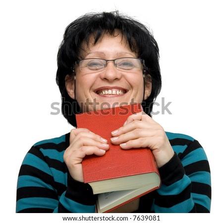 female teacher isolated on white - stock photo