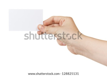 female teen hand holding blank card, isolated on white - stock photo