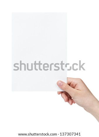 female teen hand holding blank paper a5 sheet, isolated on white - stock photo