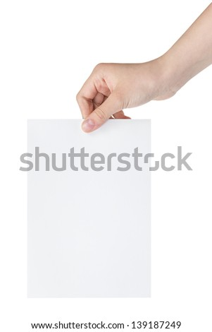 female teen hand holding blank paper a5 sheet, isolated on white