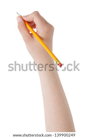 female teen hand holding pencil with eraser top, isolated on white