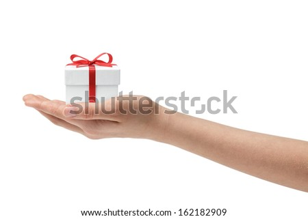 female teen hand holding present, isolated on white