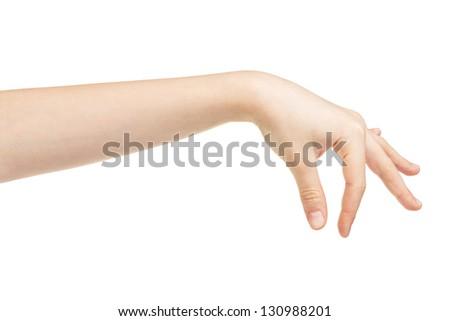 female teen hand holding something, isolated on white - stock photo