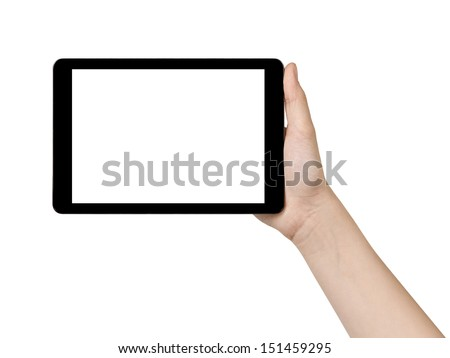 female teen hand showing generic tablet pc with blank screen, isolated - stock photo