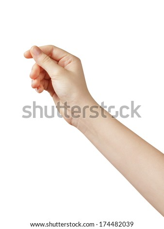 female teen hand to hold something, isolated - stock photo