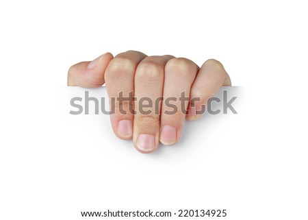 female teen hand to hold something like placard, isolated on white - stock photo