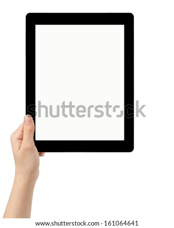 female teen hand using tablet pc with white screen, isolated - stock photo