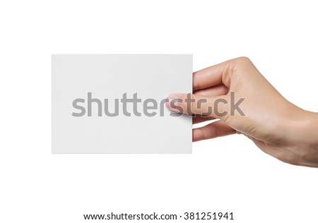 Female teen hand with beautiful clean skin holding blank visiting card, isolated on white. - stock photo