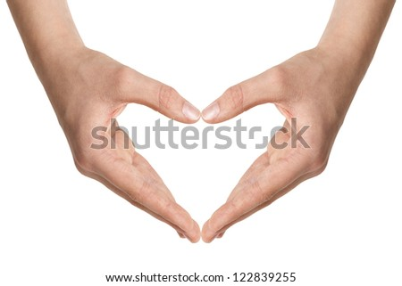 female teen hands show heart shape, isolated on white