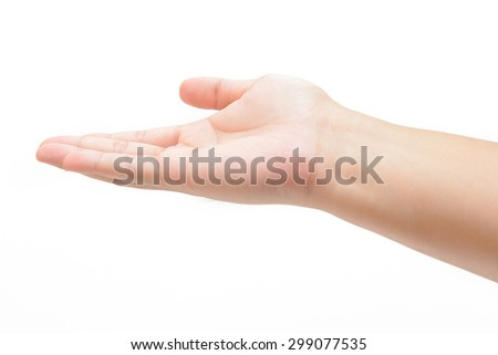 female teen right hand to hold something, isolated on white - stock photo