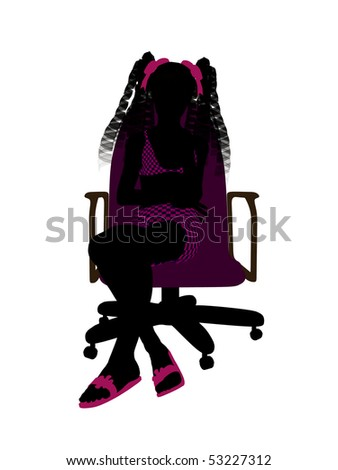 Female teen wearing a swimsuit sitting in a chair illustration silhouette on a white background
