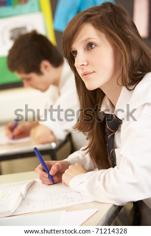 Female Teenage Student Studying In Classroom - stock photo