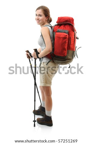female teenager trekking. Isolated on white - stock photo
