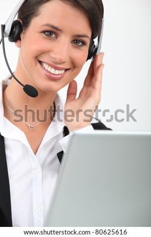 female telesales worker - stock photo
