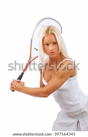 Female tennis player isolated on a white background. - stock photo