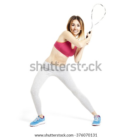 Female tennis player waiting for a first ball. - stock photo