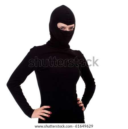 female thief in black clothes and balaclava with red nails