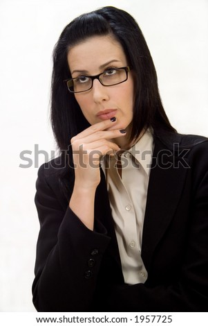 Female thinking, wondering or questioning - stock photo
